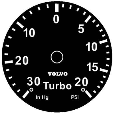 volvo white face gauges 52 mm VDO Water Gauge Sensor 240t 30 20 turbo volvo blackface volvo turbo overlay 30 20 turbo face with volvo logo available with optional r sport logo above the center at no