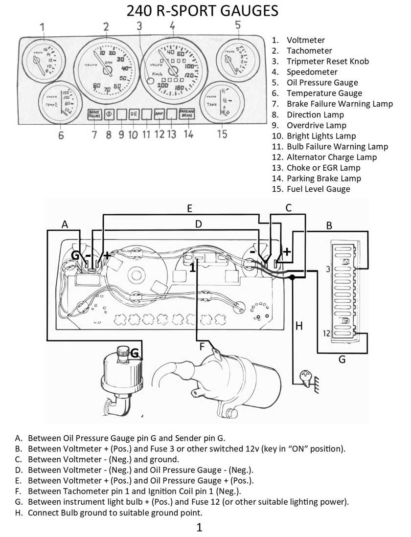 vdo gauge wiring diagram schematic volvo 240 instrument cluster and gauge wiring  volvo 240 instrument cluster and gauge