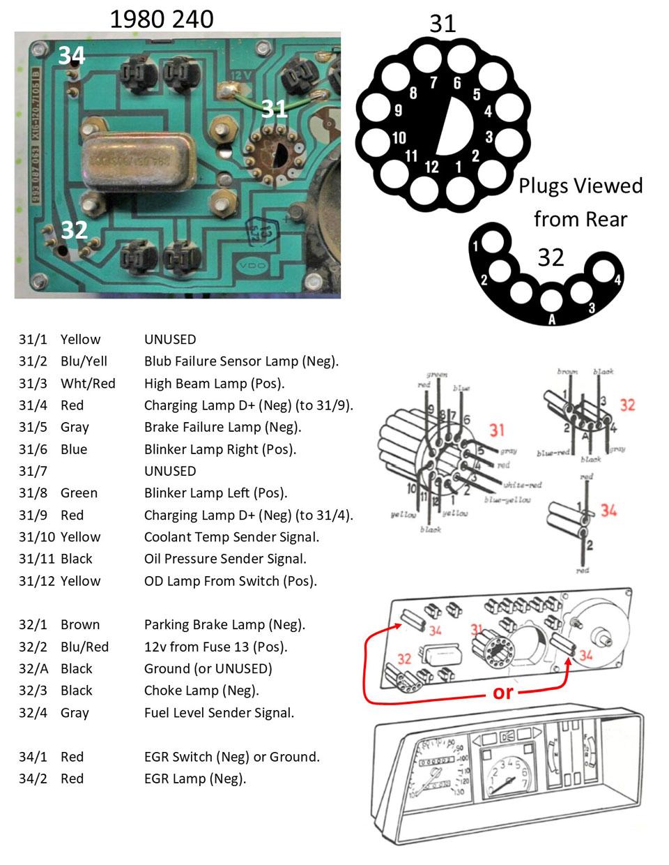 Volvo 240 Instrument Cluster and gauge Wiring | Volvo 240 Instrument Cluster Wiring Diagram |  | 240Turbo.com