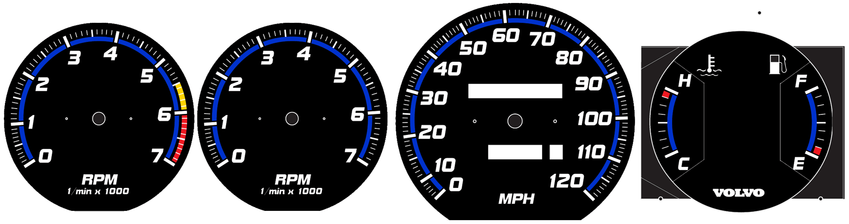Daves Volvo 240 White Face Gauges Vdo Tachometer Wiring Diagram 1 Min Also Available With Tach Redline Without Hcfe Other Color Rings R Sport Or Logos