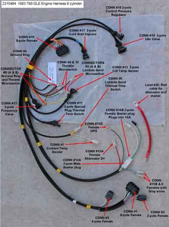 Volvo 1983 760 6cyl engine wire harness                           PN 3515484.
