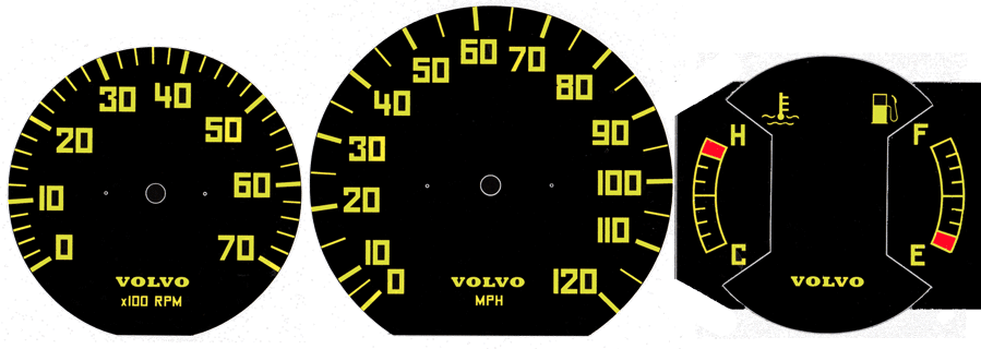 Volvo 240 gauge                         faces. Dave's Volvo Page.