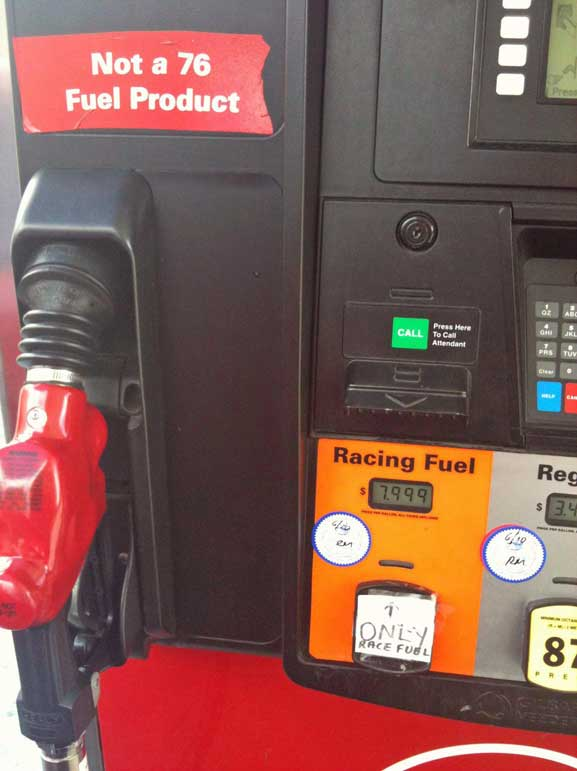What Octane Is Racing Fuel >> Unleaded Race Racing Fuel At The Pump In California