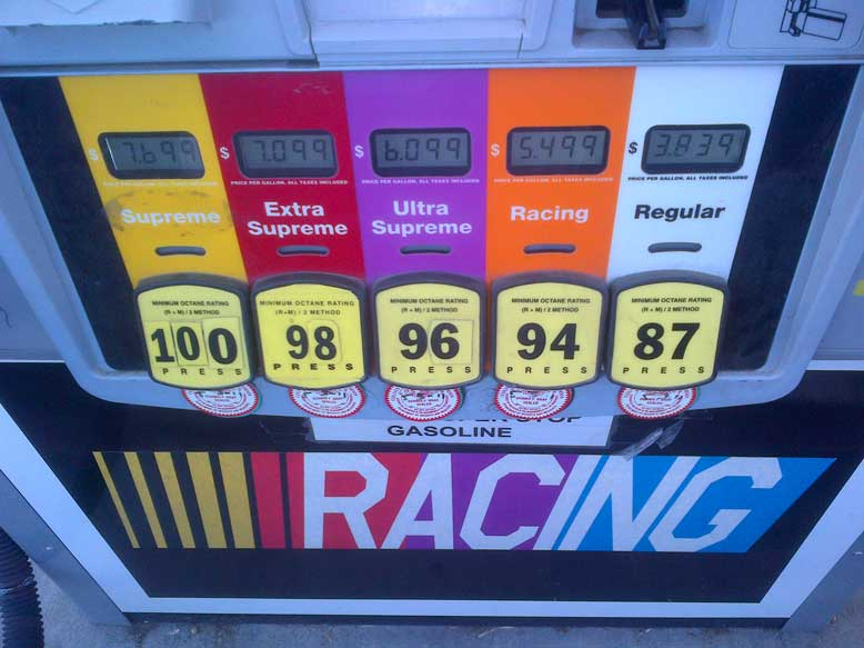 unleaded race racing fuel at the pump in california. Black Bedroom Furniture Sets. Home Design Ideas